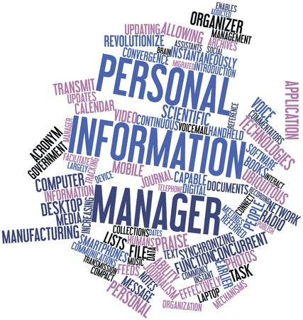 migrated: Abstract word cloud for Personal information manager with related tags and terms Stock Photo