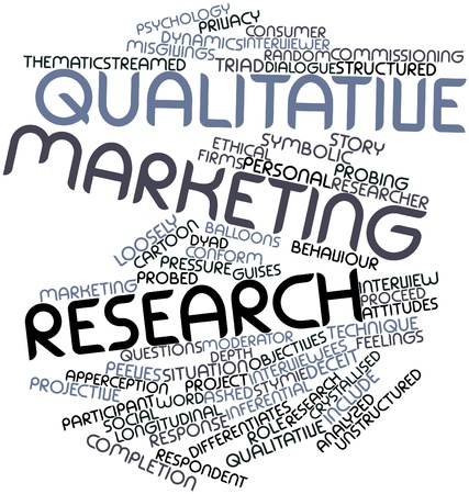 qualitative: Abstract word cloud for Qualitative marketing research with related tags and terms Stock Photo