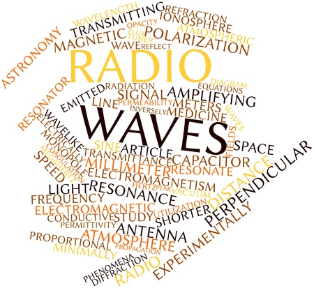 ionosphere: Abstract word cloud for Radio waves with related tags and terms Stock Photo