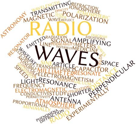resonancia magnetica: Nube palabra abstracta por ondas de radio con las etiquetas y términos relacionados Foto de archivo
