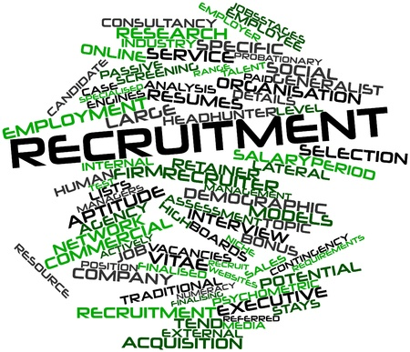 Abstract word cloud for Recruitment with related tags and terms photo