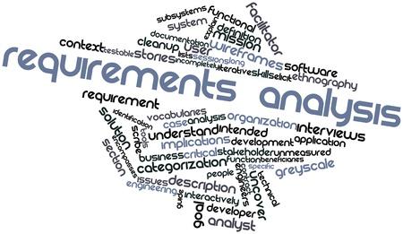 determining: Nube palabra abstracta para An�lisis de requerimientos con las etiquetas y t�rminos relacionados