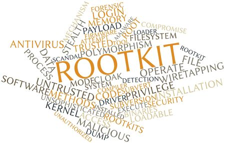 subversion: Abstract word cloud for Rootkit with related tags and terms Stock Photo
