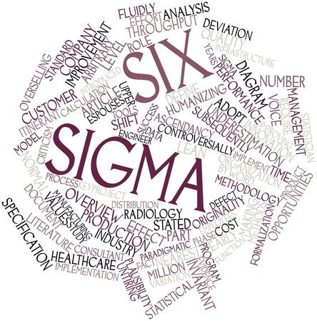 Abstract woordwolk for Six Sigma met gerelateerde tags en voorwaarden