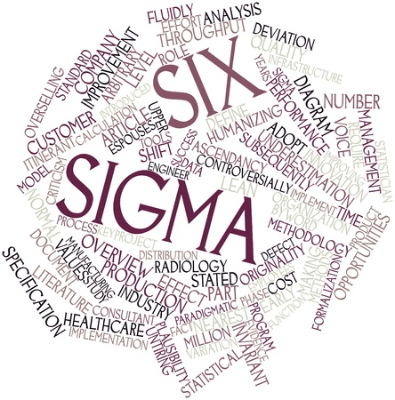 time specification: Abstract word cloud for Six Sigma with related tags and terms Stock Photo