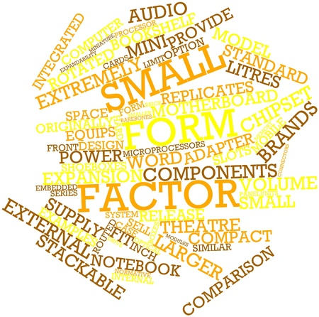 cramped space: Abstract word cloud for Small form factor with related tags and terms
