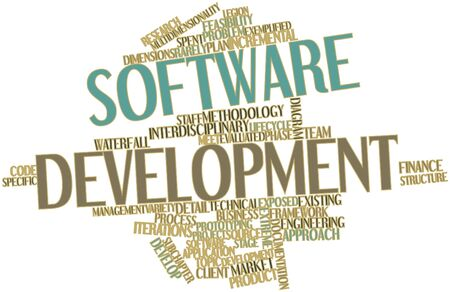 compromising: Abstract word cloud for Software development with related tags and terms Stock Photo