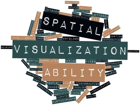 Abstract word cloud for Spatial visualization ability with related tags and terms Stock Photo - 16413708