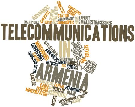 convergence: Abstract word cloud for Telecommunications in Armenia with related tags and terms