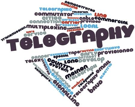 telegraphy: Word cloud astratto per telegrafia con tag correlati e termini Archivio Fotografico