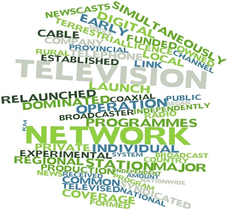 televised: Abstract word cloud for Television network with related tags and terms
