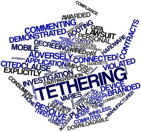 widely: Abstract word cloud for Tethering with related tags and terms Stock Photo