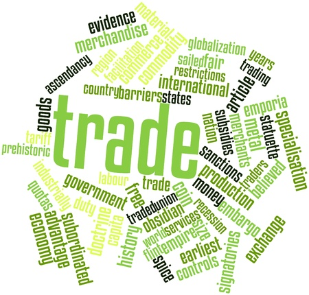 subordinated: Abstract word cloud for Trade with related tags and terms Stock Photo