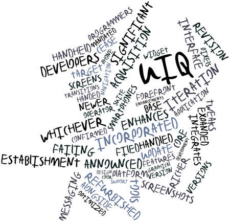 integrates: Abstract word cloud for UIQ with related tags and terms Stock Photo