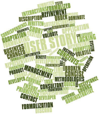 imprecise: Abstract word cloud for User story with related tags and terms