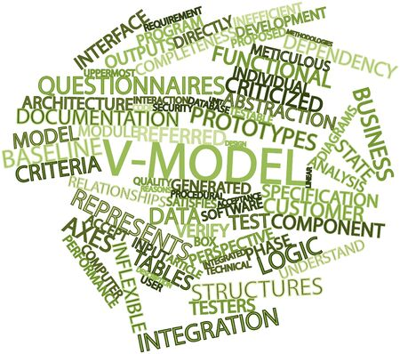 satisfies: Abstract word cloud for V-Model with related tags and terms Stock Photo