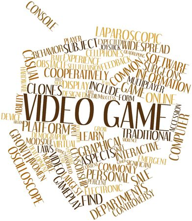 mainstream: Abstract word cloud for Video game with related tags and terms Stock Photo