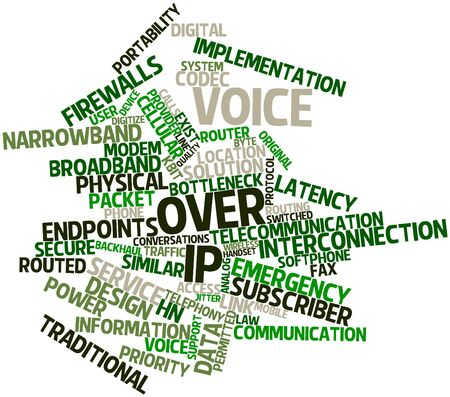 jitter: Abstract word cloud for Voice over IP with related tags and terms Stock Photo