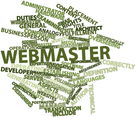postmaster: Abstract word cloud for Webmaster with related tags and terms