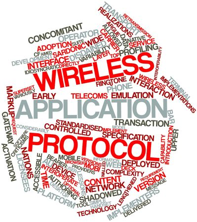 Abstract word cloud for Wireless Application Protocol with related tags and terms Stock Photo