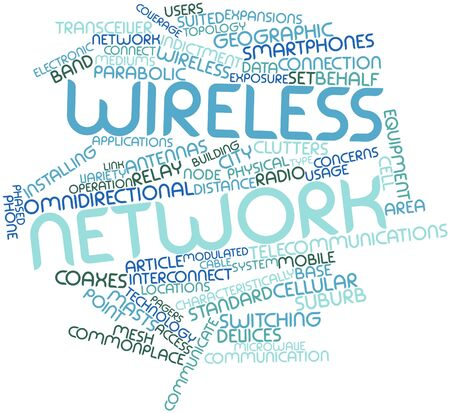 forwards: Abstract word cloud for Wireless network with related tags and terms Stock Photo
