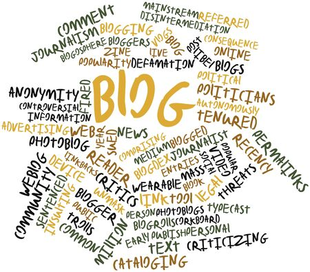 blogosphere: Abstract word cloud for Blog with related tags and terms