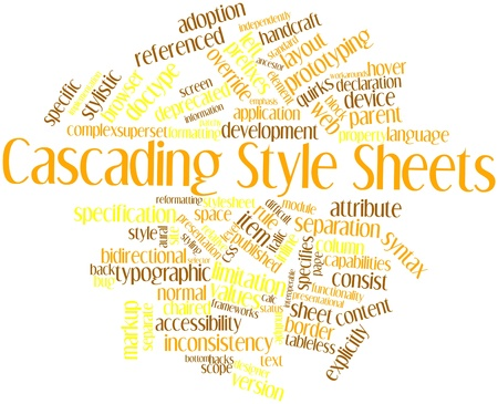 cascading style sheets: Abstract word cloud for Cascading Style Sheets with related tags and terms