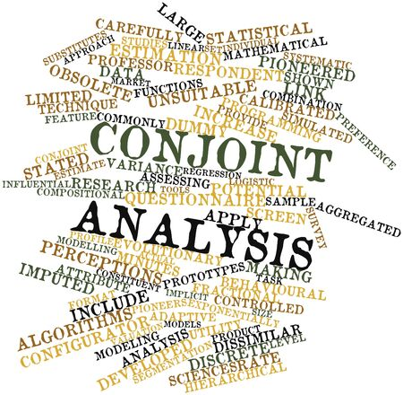 implicit: Abstract word cloud for Conjoint analysis with related tags and terms