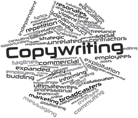 gamme de produit: Nuage de mot abstrait pour Copywriting avec des �tiquettes et des termes connexes Banque d'images