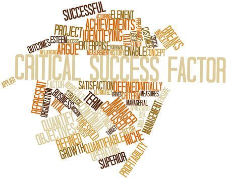 indirectly: Abstract word cloud for Critical success factor with related tags and terms Stock Photo