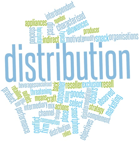 interdependent: Abstract word cloud for Distribution with related tags and terms Stock Photo