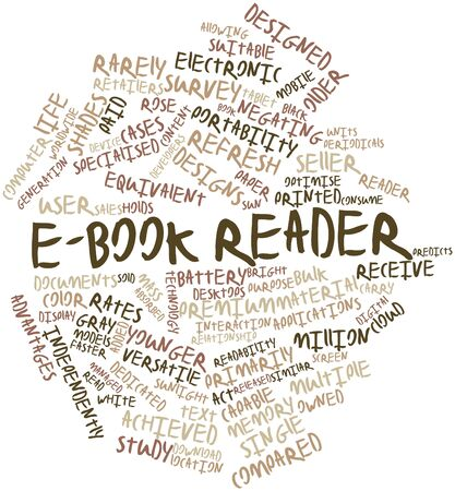 e retailers: Abstract word cloud for E-book reader with related tags and terms