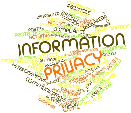 Abstract word cloud for Information privacy with related tags and terms Stock Photo - 16414341