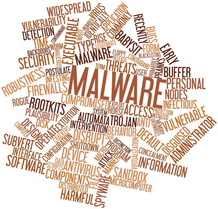 Abstract word cloud for Malware with related tags and terms photo