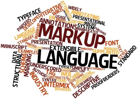 declarative: Word cloud astratto per il linguaggio di marcatura con tag correlati e termini