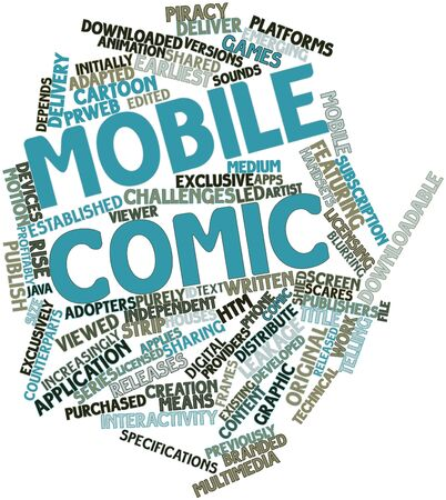 adapted: Abstract word cloud for Mobile comic with related tags and terms