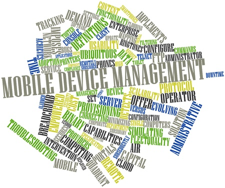 Abstract word cloud for Mobile device management with related tags and terms Stock Photo - 16414069