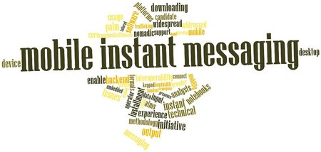 instant messaging: Abstract word cloud for Mobile instant messaging with related tags and terms