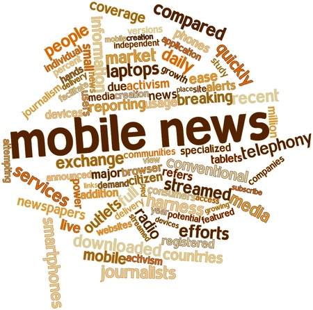 Abstract word cloud for Mobile news with related tags and terms Stock Photo - 16414133