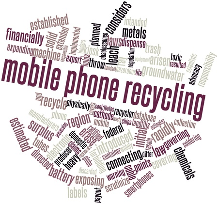 domestic policy: Abstract word cloud for Mobile phone recycling with related tags and terms