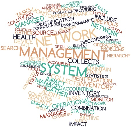 discovering: Abstract word cloud for Network management system with related tags and terms Stock Photo