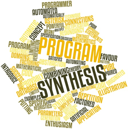 Abstract word cloud for Program synthesis with related tags and terms Stock Photo - 16414157