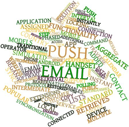 Abstract word cloud for Push email with related tags and terms Stock Photo - 16414012