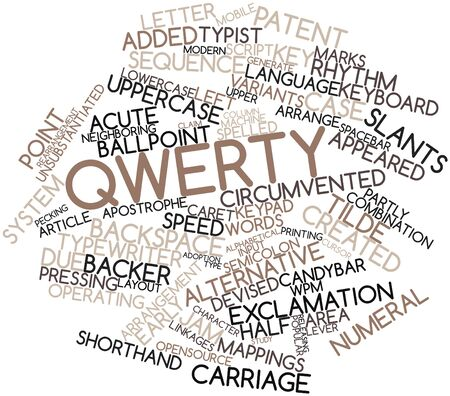 implementations: Abstract word cloud for QWERTY with related tags and terms