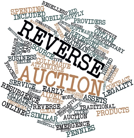 Abstract word cloud for Reverse auction with related tags and terms Stock Photo - 16414041
