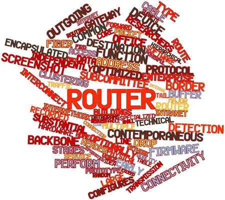 optimized: Abstract word cloud for Router with related tags and terms Stock Photo