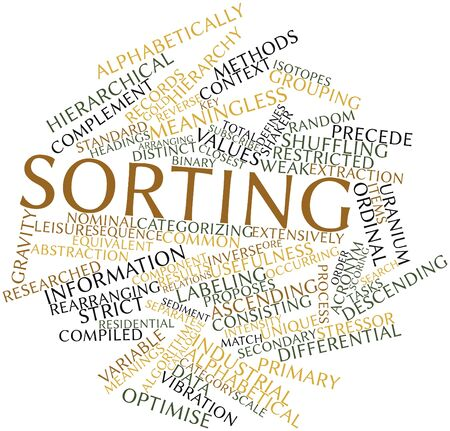 Abstract word cloud for Sorting with related tags and terms photo