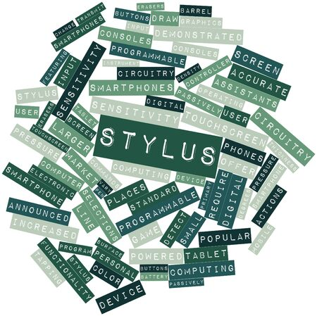 stylus: Abstract word cloud for Stylus with related tags and terms Stock Photo