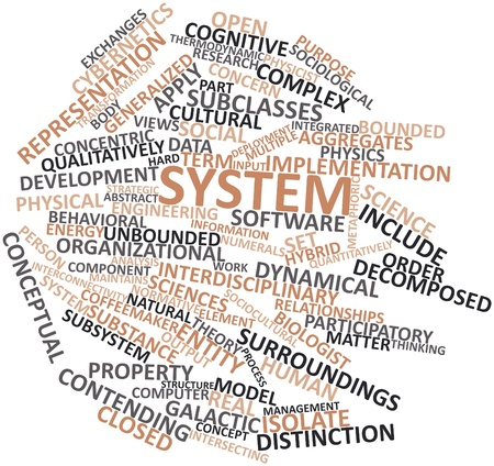 cybernetics: Abstract word cloud for System with related tags and terms Stock Photo