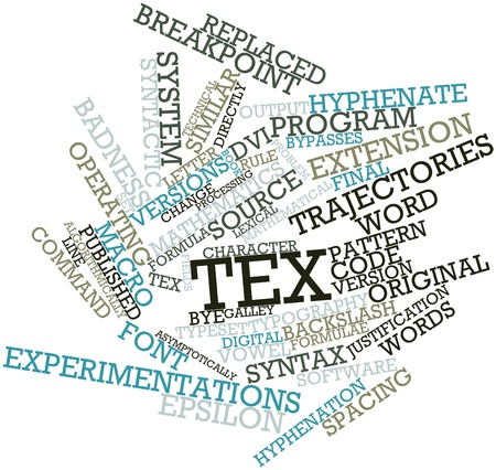 Abstract word cloud for TeX with related tags and terms Stock Photo - 16414319